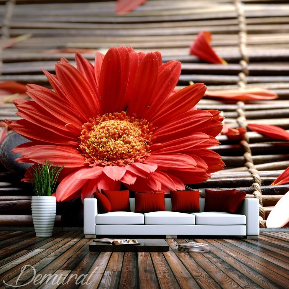 Fotomurale Sotto l'ombrello dei petali - Fotomurali rosso - Demural