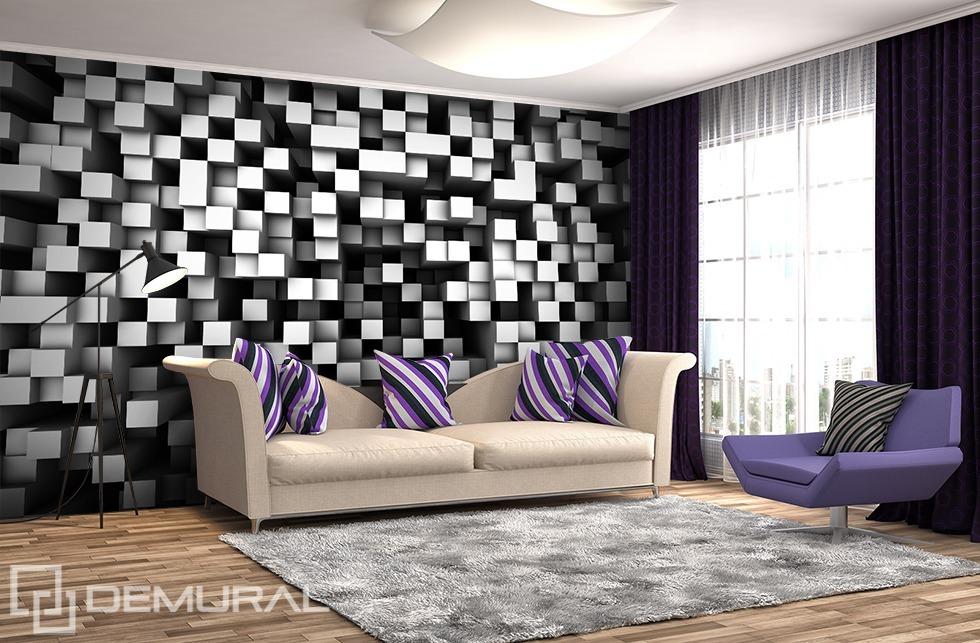 Fotomurale Un cubo cubista in bianco e nero - Fotomurali 3D - Demural
