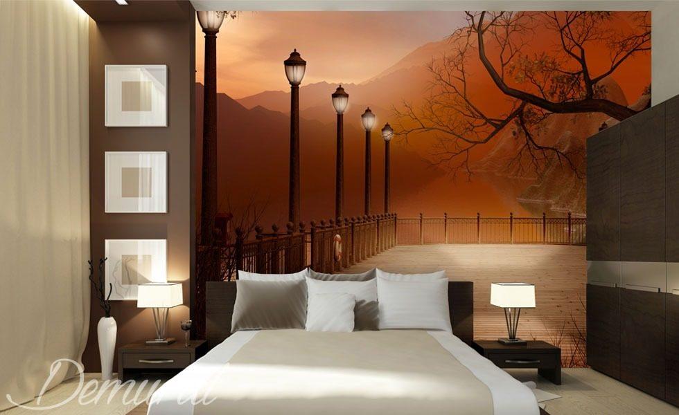 Poster Murali Per Camere Da Letto : Camera da letto serale con una vista carta da parati fotomurali